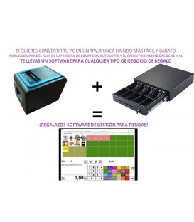 Pack 2 Impresora de tickets XP-300 US + cajón portamonedas eléctrico 41 x 41