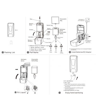 Pack de dispensador de gel, garrafa de gel de 5 L y termómetro