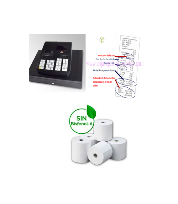 Caja Registradora Olivetti ECR 7790 con  programación telefónica y 10 rollos de papel de regalo